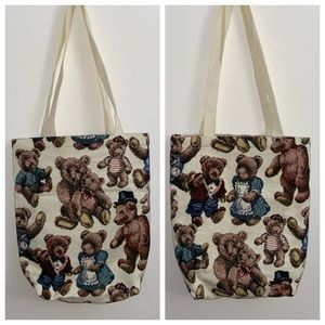 KITSCHY EMBROIDERED TEDDY BEAR TOTE EUC